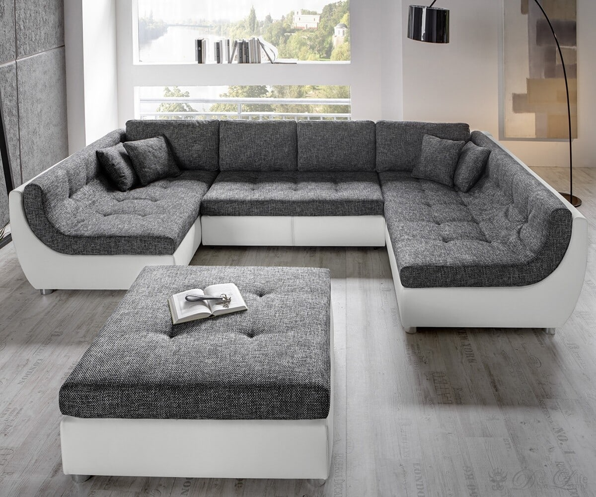 vuelo grau weiss sofa mit schlaffunktion wohnlandschaft mit hocker. Black Bedroom Furniture Sets. Home Design Ideas