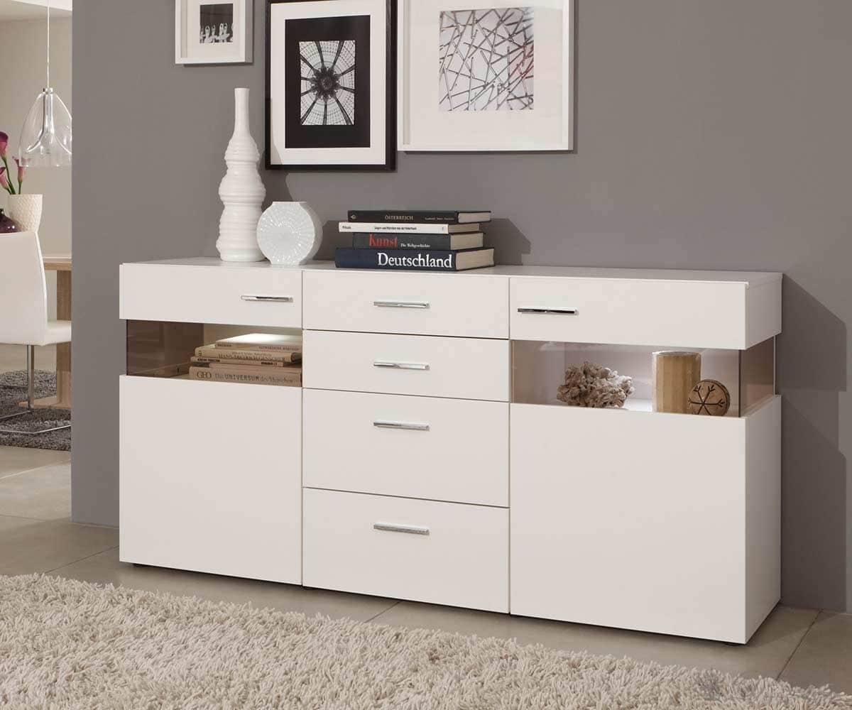 Kommode Arizona Weiss 180x90 cm Sideboard mit LED Beleuchtung