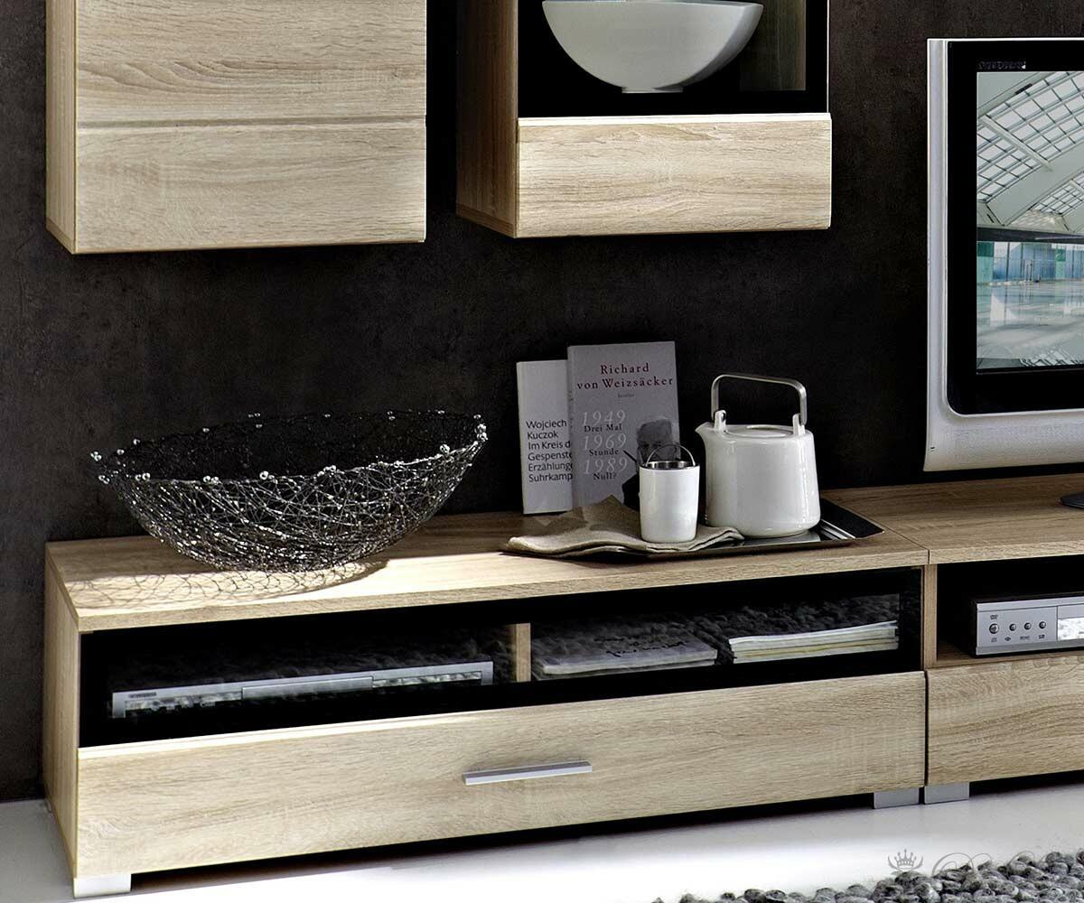 Sideboard Eiche Hell Preis : Wohnzimmer Lara Eiche Hell Wohnwand + Sideboard mit Beleuchtung [5758