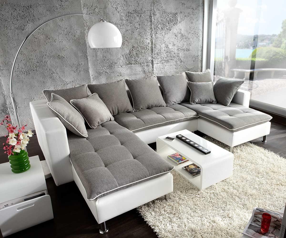 Couch Firenze Weiss Hellgrau 310x200 Ottomane Links ...