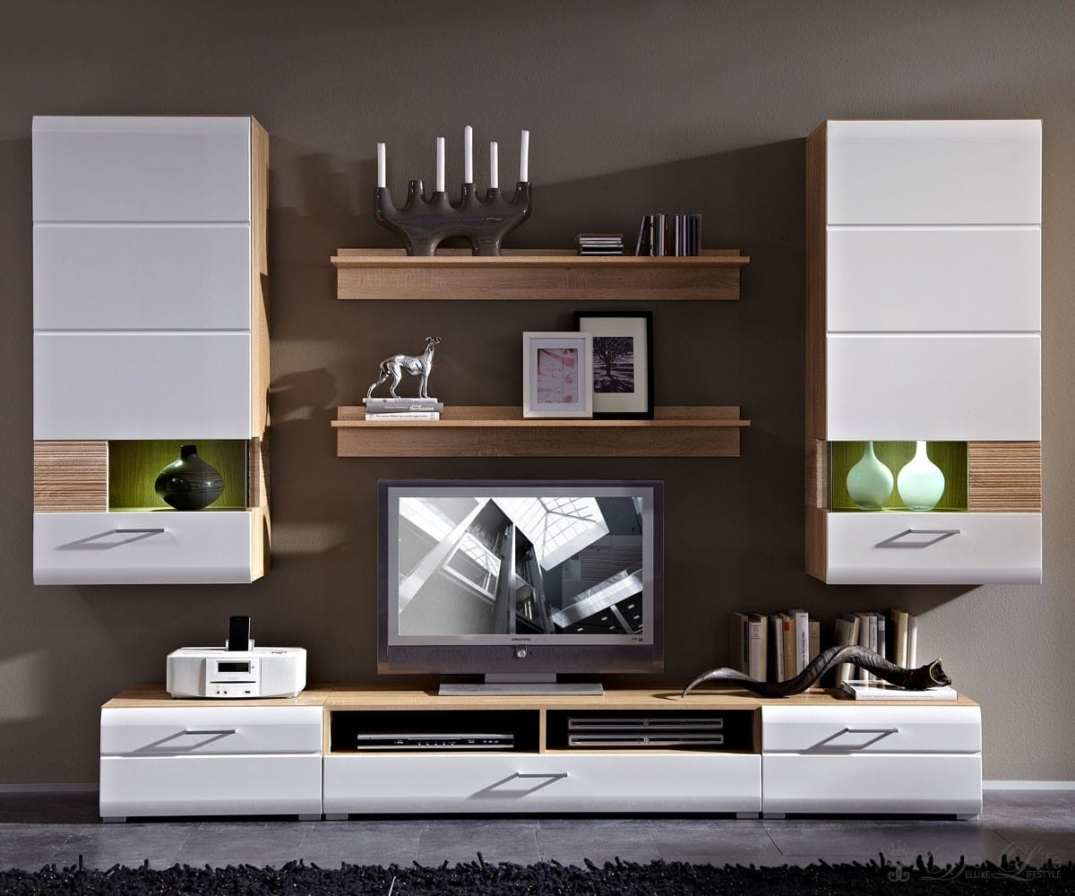 moderne wohnwand mit led beleuchtung verschiedene ideen f r die raumgestaltung. Black Bedroom Furniture Sets. Home Design Ideas