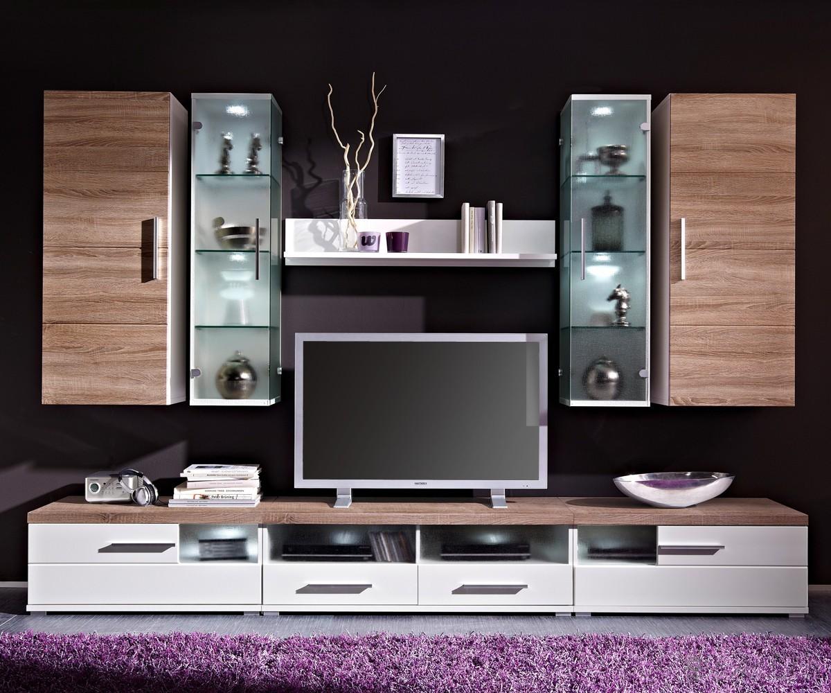 Wohnwand modern dunkel interessante ideen for Anbauwand modern wohnwand