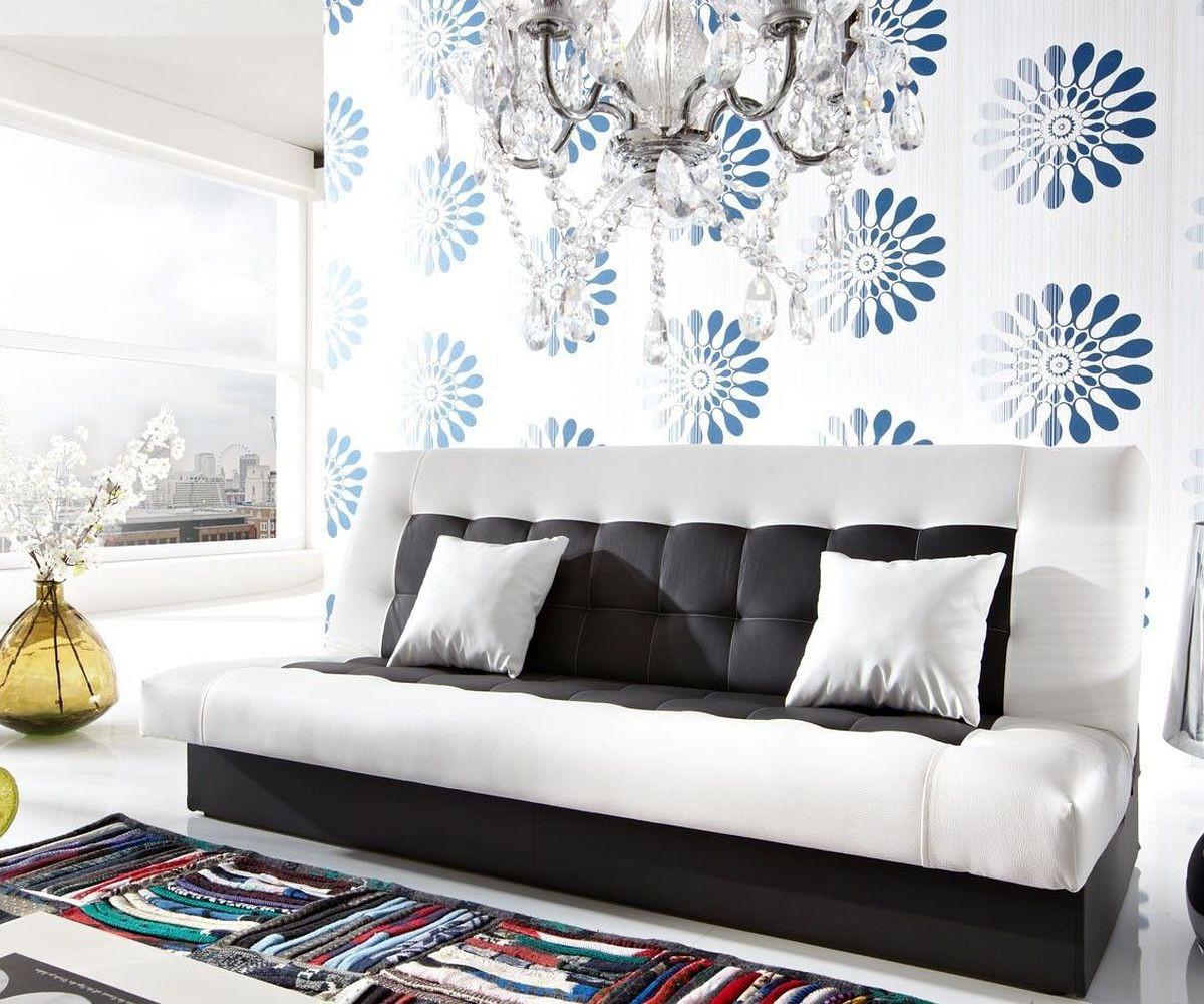 couch bulgur weiss schwarz 182x81 schlafsofa mit bettkasten. Black Bedroom Furniture Sets. Home Design Ideas