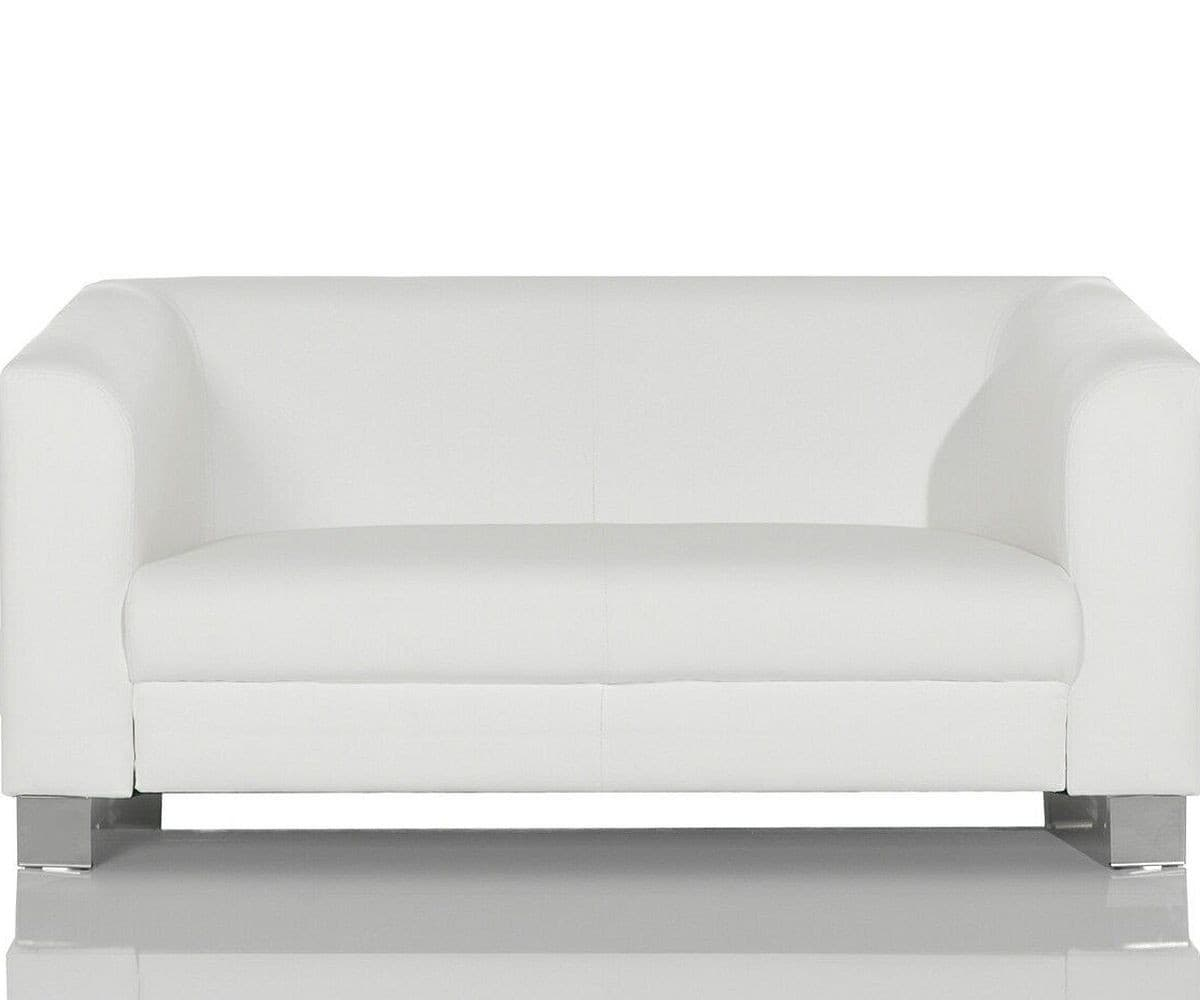Couch Carlo Verchromtes Metall Weiss 160x75 Cm Sofa 2 Sitzer