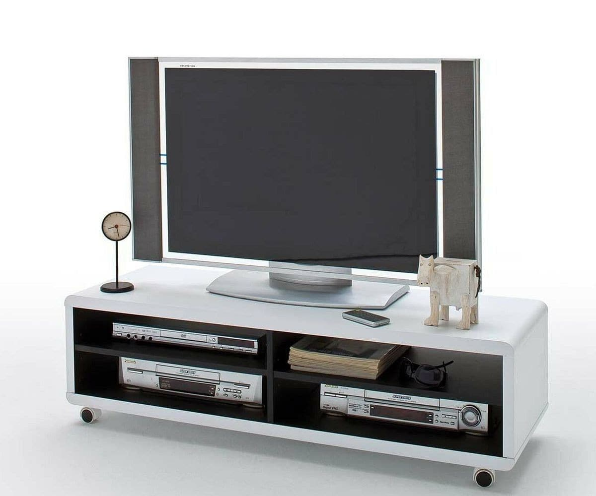 fernsehtisch akira weiss 120x40 cm rollen und 4 f cher tv. Black Bedroom Furniture Sets. Home Design Ideas