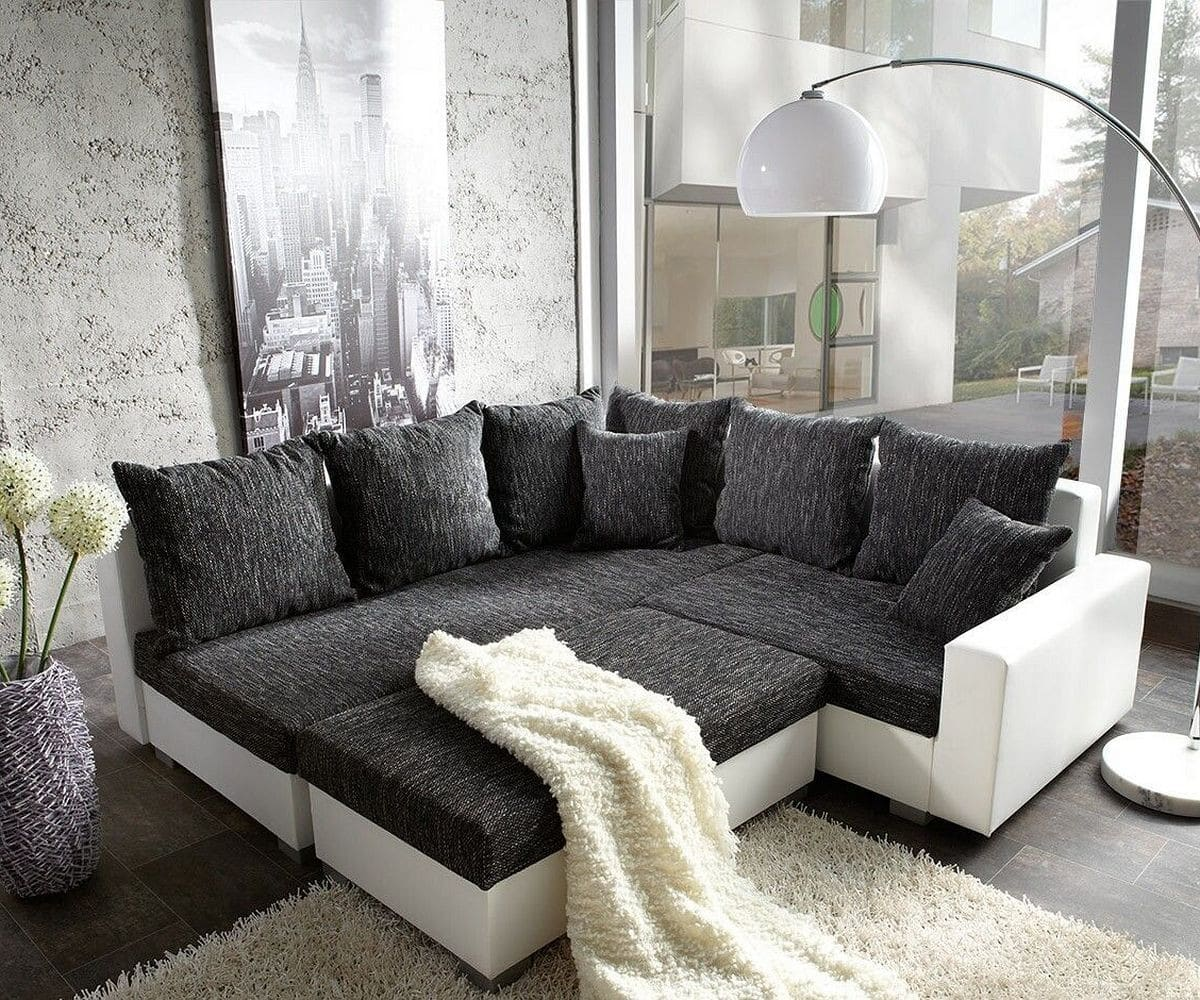couch lavello schwarz weiss 210x210 ottomane links mit hocker ecksofa. Black Bedroom Furniture Sets. Home Design Ideas