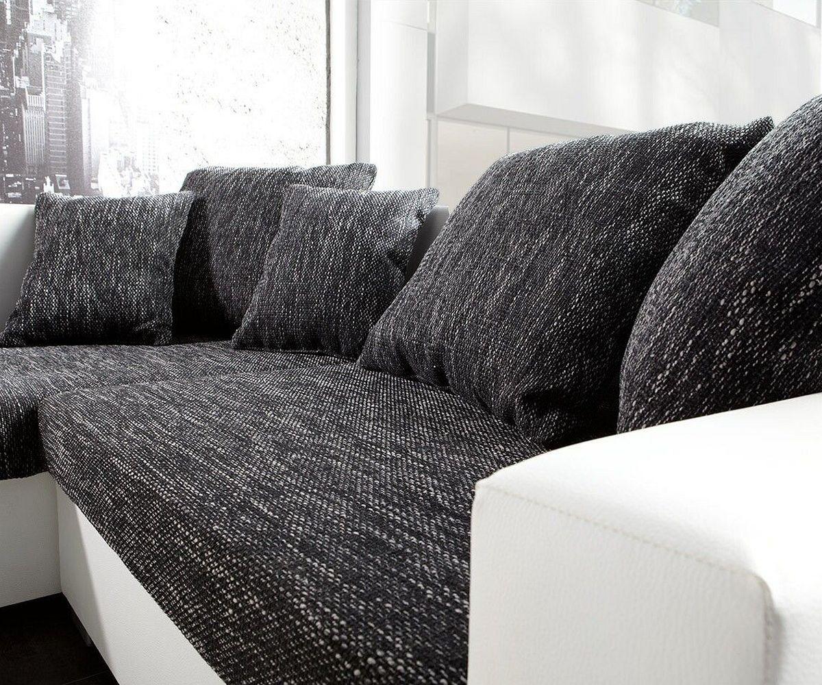 couch lavello schwarz weiss 210x210 ottomane links mit hocker ecksofa. Black Bedroom Furniture Sets. Home Design Ideas