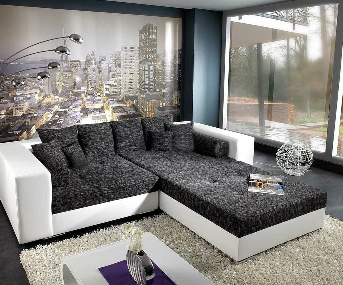 xxl sofa marlen schwarz weiss 300x140 inklusive hocker bigsofa