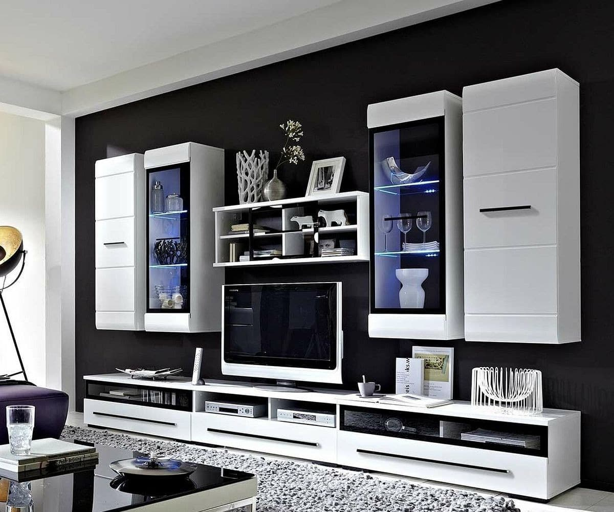wohnwand wei hochglanz modern. Black Bedroom Furniture Sets. Home Design Ideas
