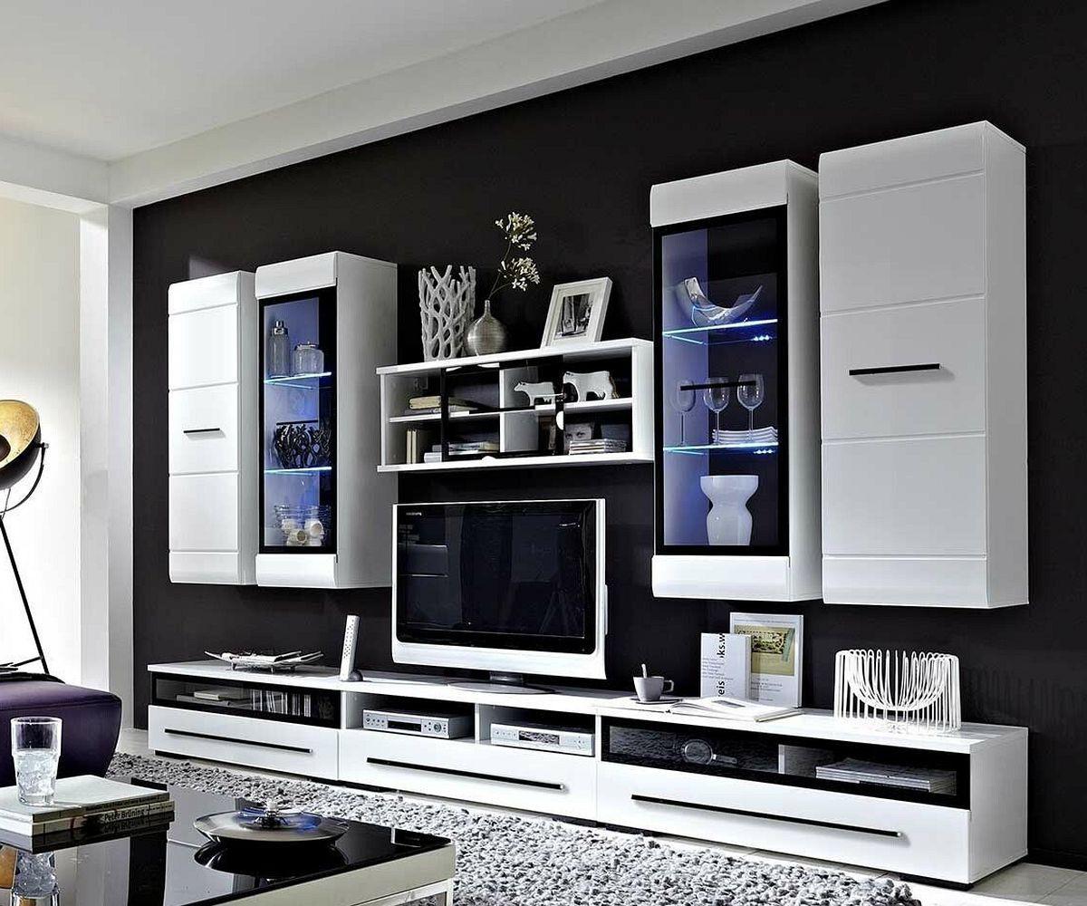 wohnwand wei hochglanz modern. Black Bedroom Furniture Sets. Home Design Ideas