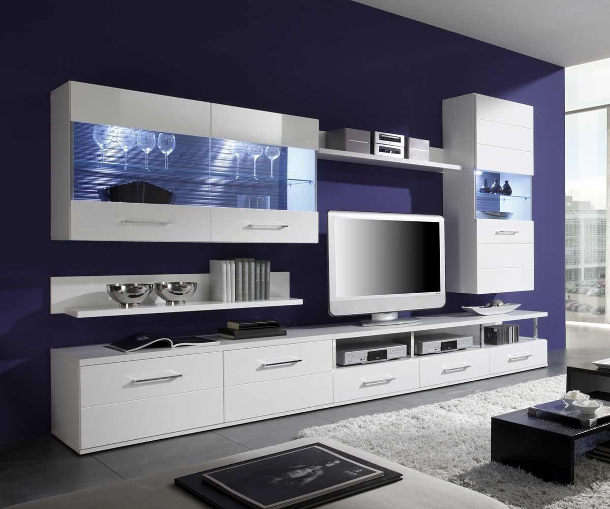 Wohnwand modern wei interessante ideen f r for Anbauwand modern wohnwand