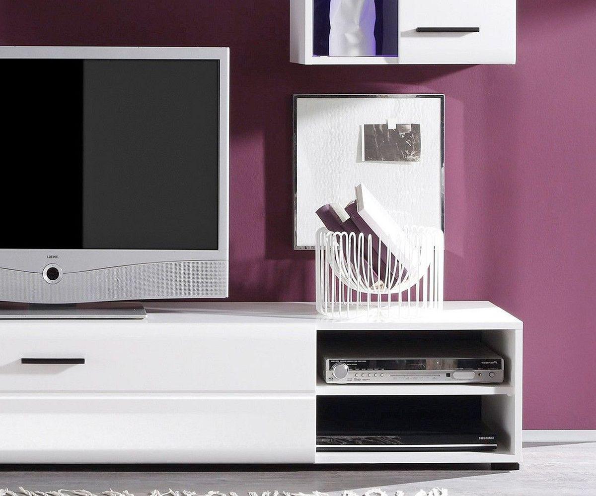 anbauwand freya hochglanz weiss 200cm mit led beleuchtung. Black Bedroom Furniture Sets. Home Design Ideas